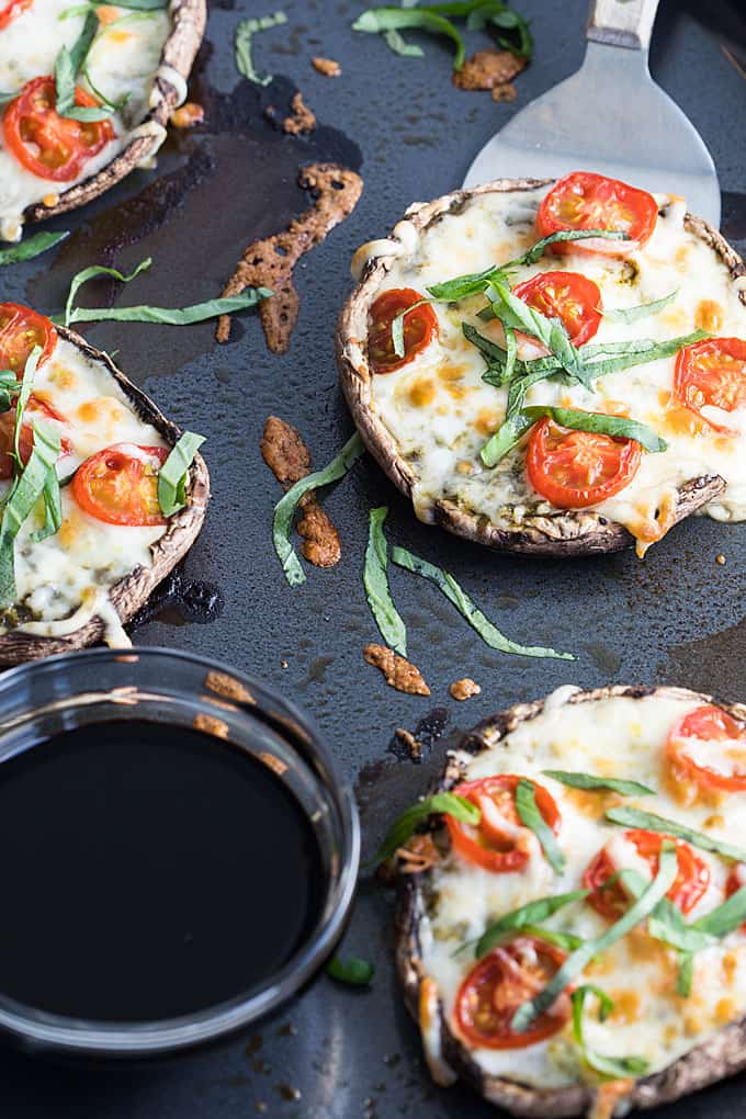 Portobello Caprese PIzzas - A satisfying, low carb pizza ready in under 30 minutes. You'll never miss the crust in these pizzas!