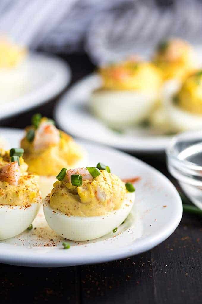 Classic deviled eggs get a seafood twist in these amazingly delicious Shrimp Deviled Eggs... a perfect appetizer or side dish! #eggs