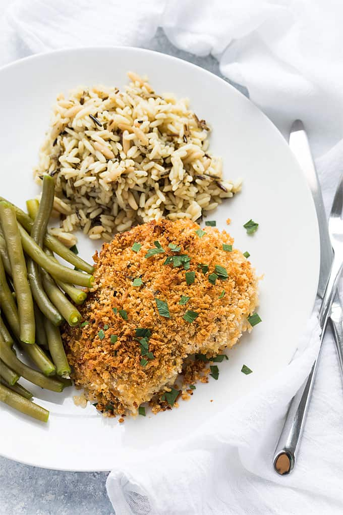 Herb Breaded Chicken Thighs - An easy, budget-friendly and delicious baked chicken recipe with just 5 minutes prep time!