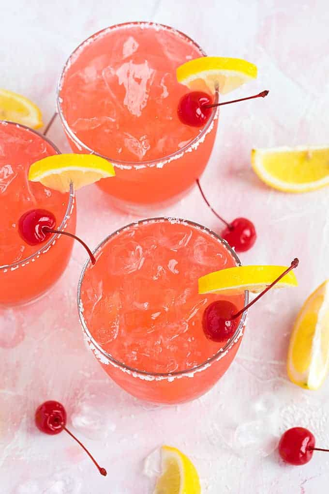 Cherry Lemonade Margaritas - Sweet and tart margaritas that are guaranteed to be a crowd-pleaser!