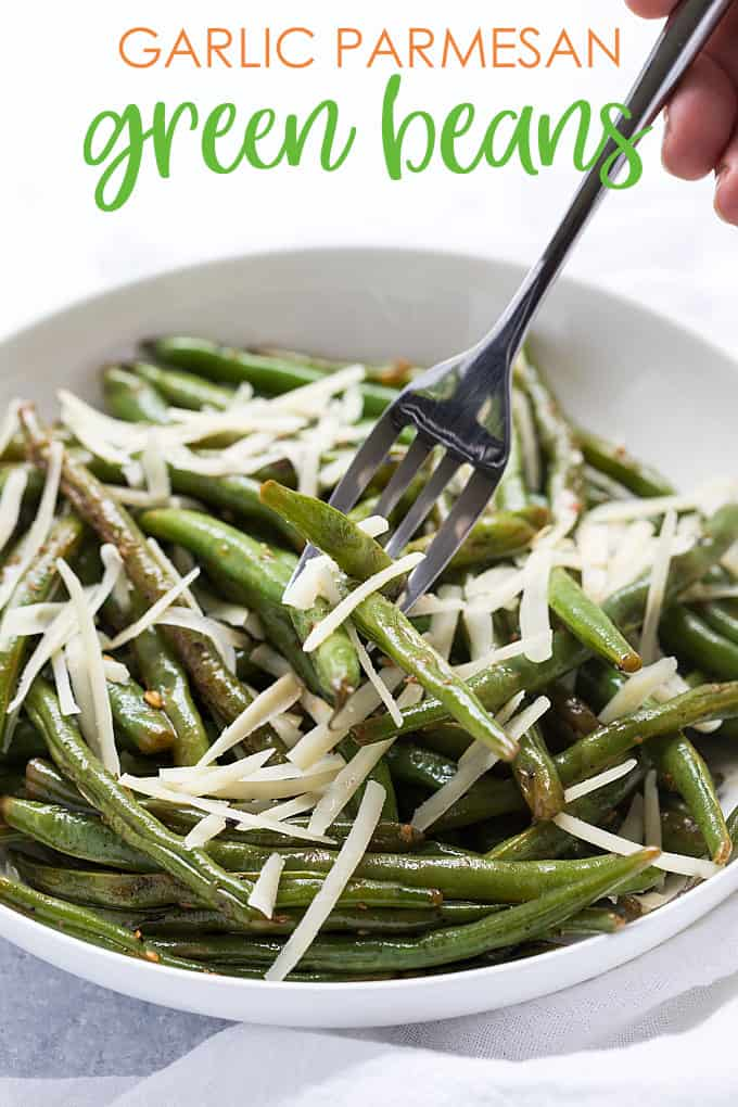 Garlic Parmesan Green Beans - Crisp-tender string beans with garlic and seasonings topped with Parmesan cheese