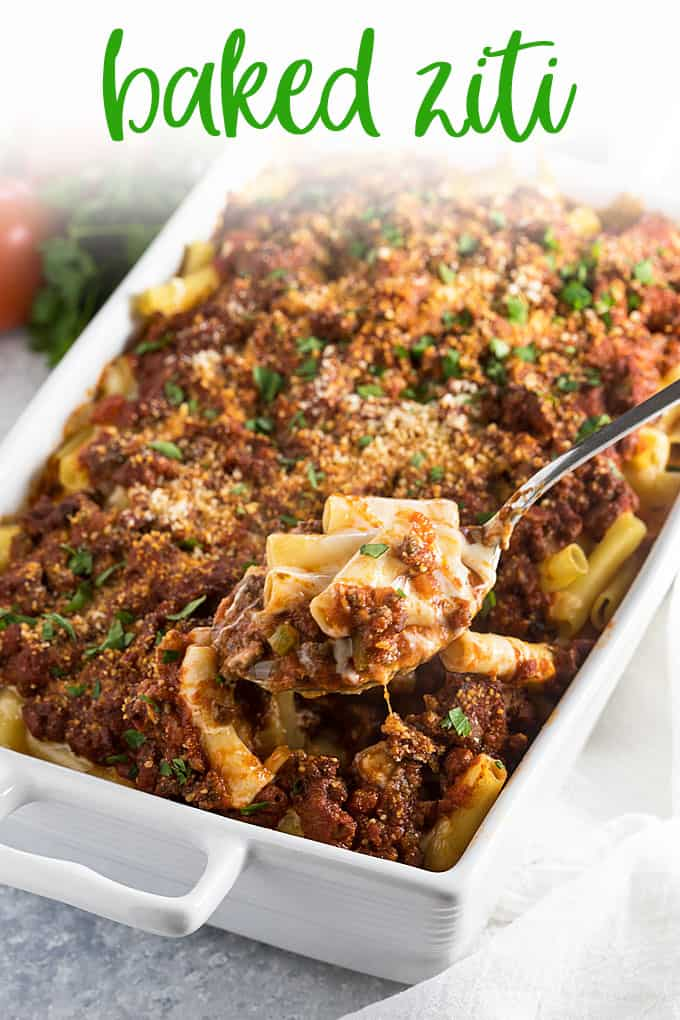 Baked Ziti - Cheesy and meaty ziti layered with three cheeses. A hearty and satisfying pasta dish!