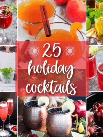 A collage of eight holiday cocktails with overlay text in the center.