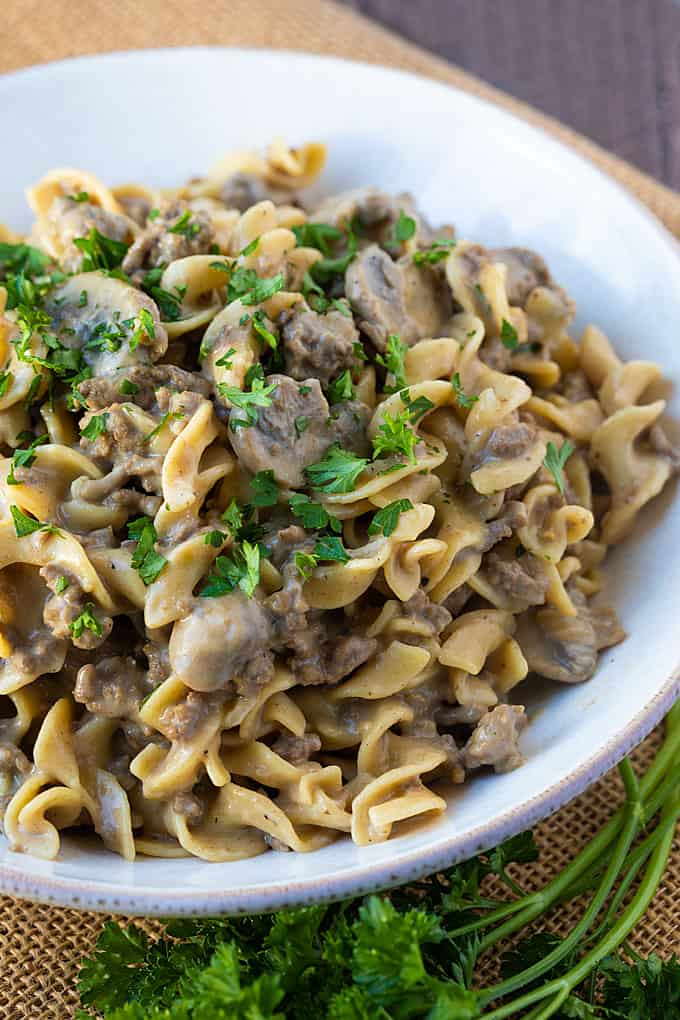 A closeup of hamburger stroganoff with mushrooms in a white bowl.