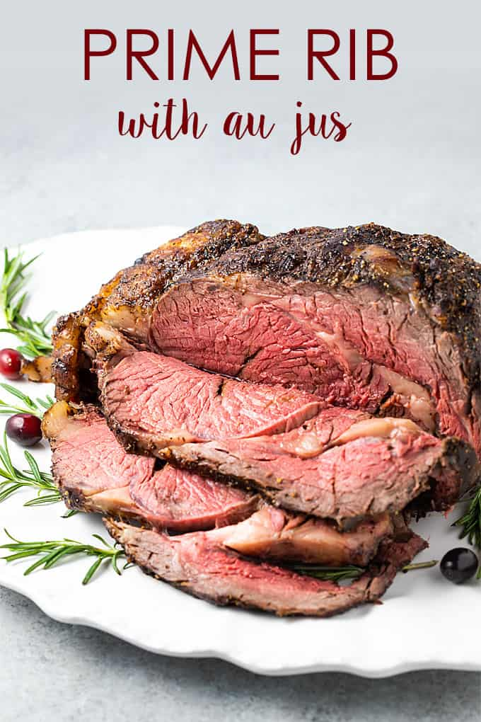 Front view of a carved prime rib roast on a white platter with overlay text.