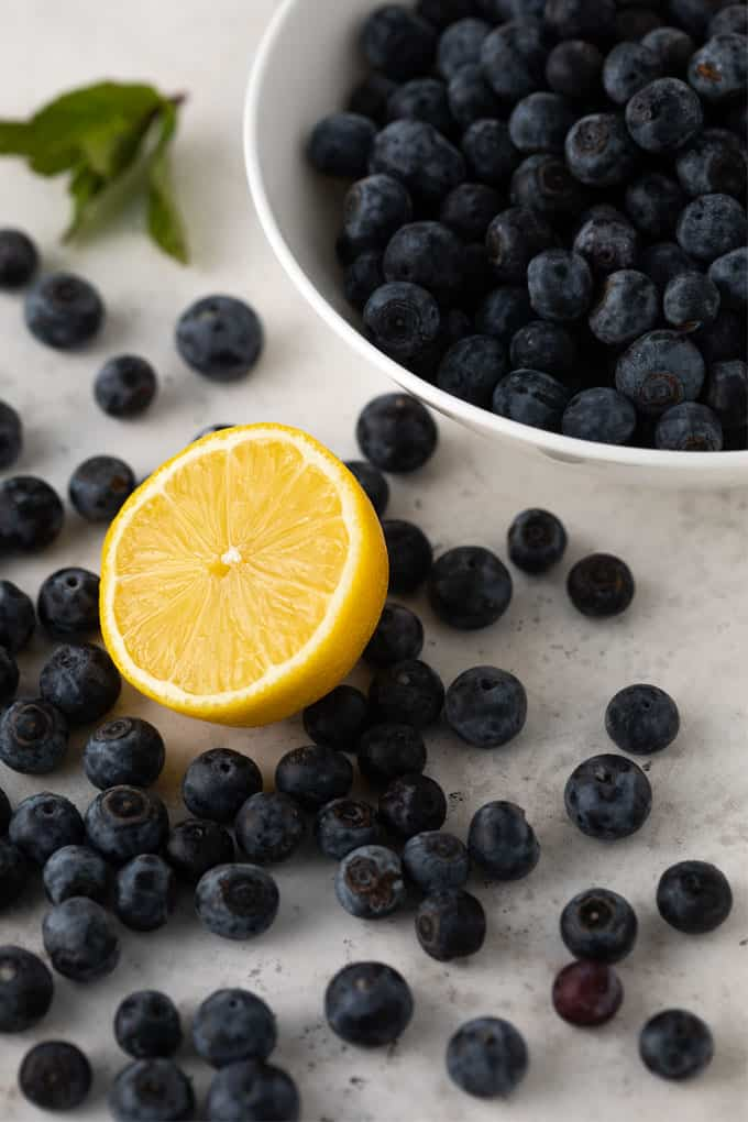 A round white bowl full of fresh blueberries beside scattered blueberries, a sliced lemon and mint sprig.