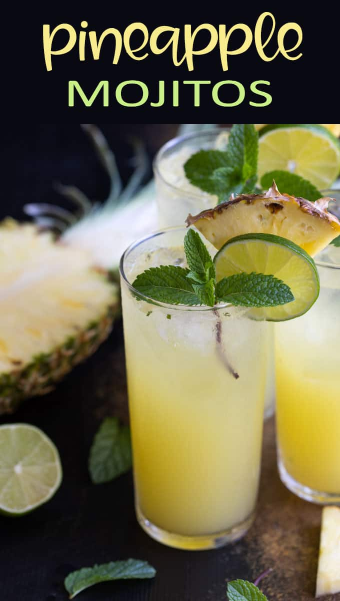 "Front view of 3 pineapple mojitos. Text at top reads, ""Pineapple Mojitos"""