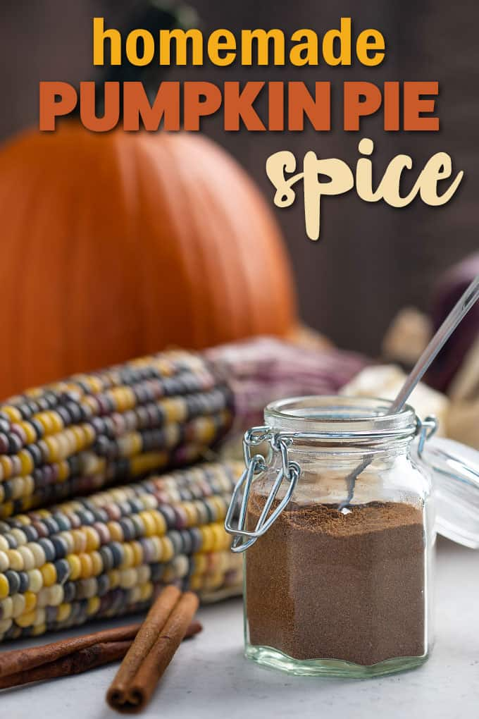 A jar of spice with a measuring spoon.  A pumpkin and corn are in background.