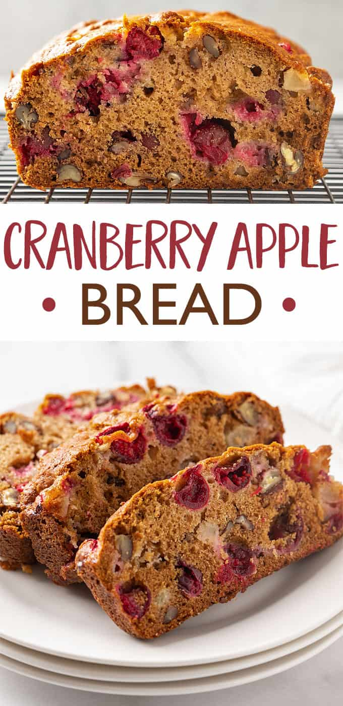 Two images of bread.  Text in center says cranberry apple bread.