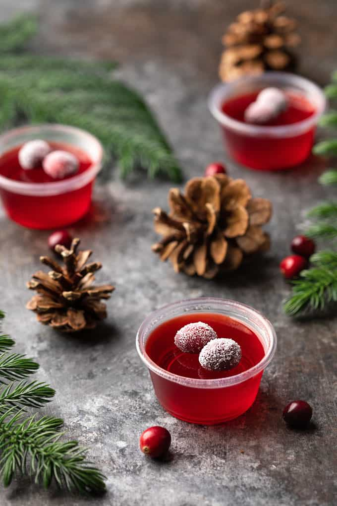 Cranberry Jello Shots topped with sugared cranberries