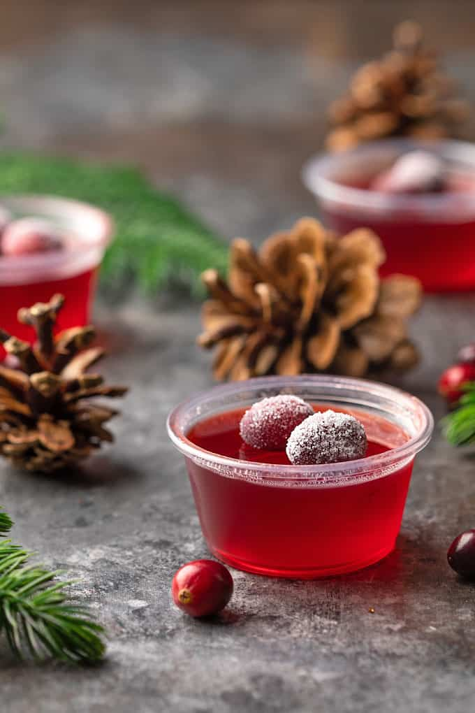 Front view of a jello shot topped with two sugared cranberries.