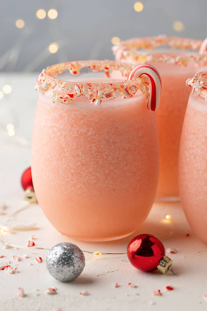Peppermint pina coladas garnished with candy canes