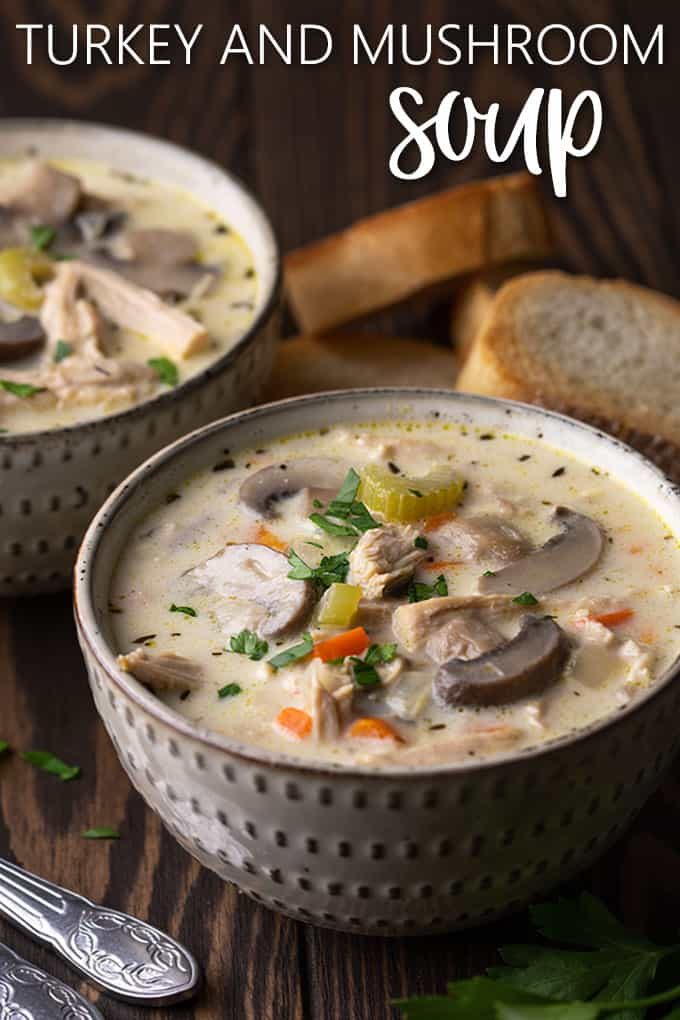 Creamy turkey and mushroom soup in 2 bowls with text overlay at top of image