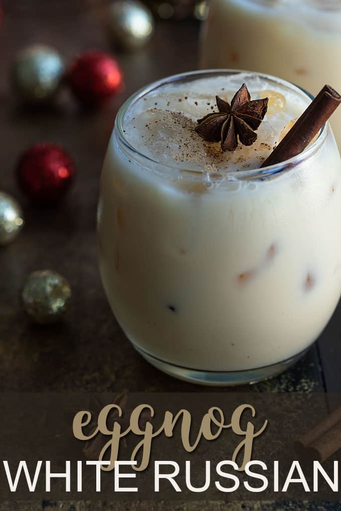 Eggnog white russian cocktail sprinkled with nutmeg. Overlay text at bottom of image