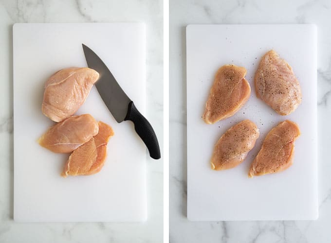 Collage image: 2 photos of 2 boneless skinless chicken breasts sliced lengthwise on a white cutting board on a marble background