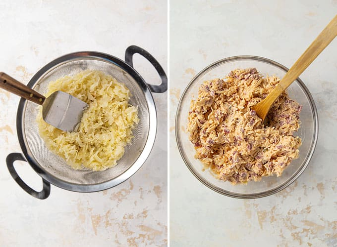 Collage image:  Draining sauerkraut in a colander and Reuben dip mixture in a bowl