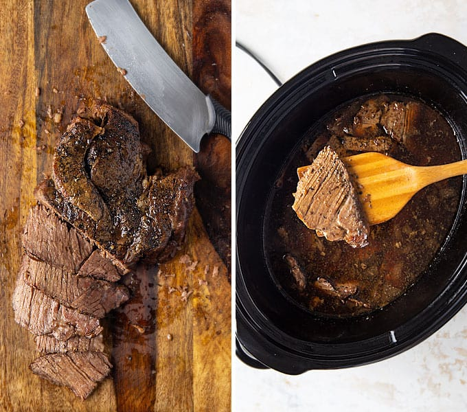 2 images: First is sliced beef roast on a cutting board, second is sliced beef in a slow cooker with broth and seasonings