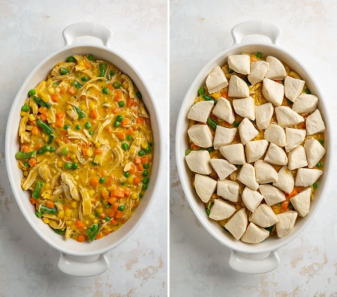 Two step by step photos showing how to make cheesy chicken pot pie.
