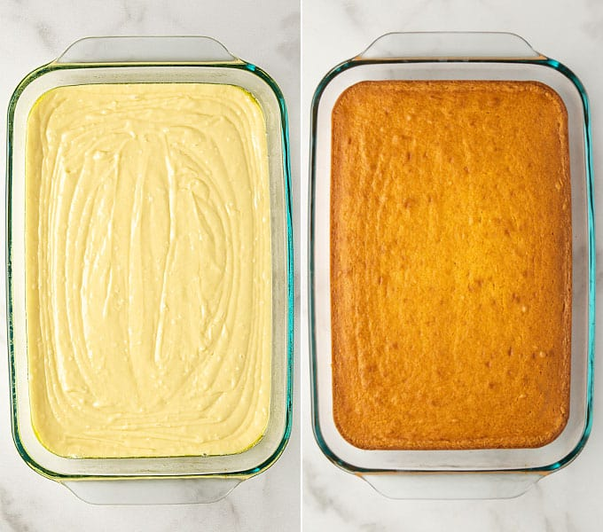 2 images: Cake batter in a 9x13 glass pan before and after baking.