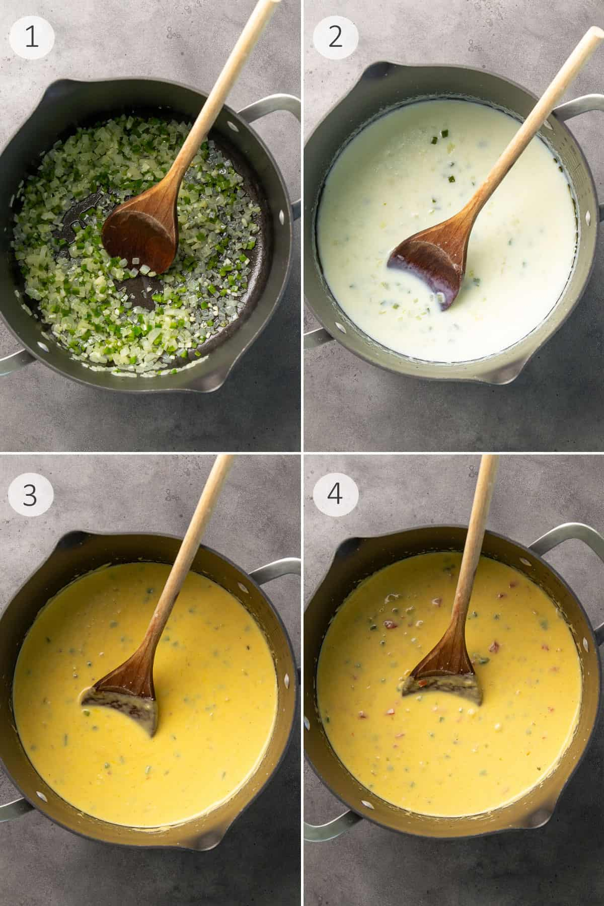4 step-by-step images in a collage of how to make chili con queso