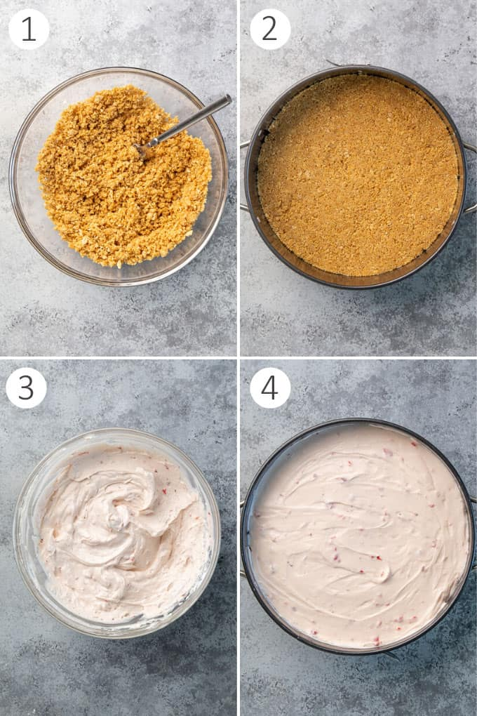 A collage of 4 images demonstrating the process of preparing a no bake cheesecake.