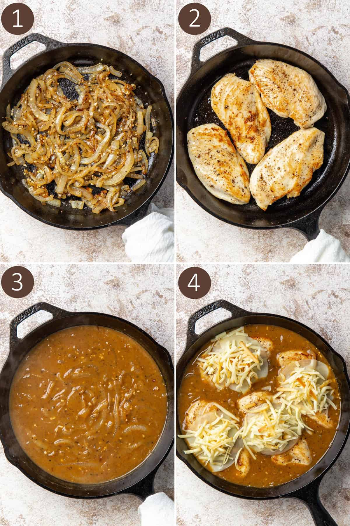 A collage of four images showing how to make French onion chicken.