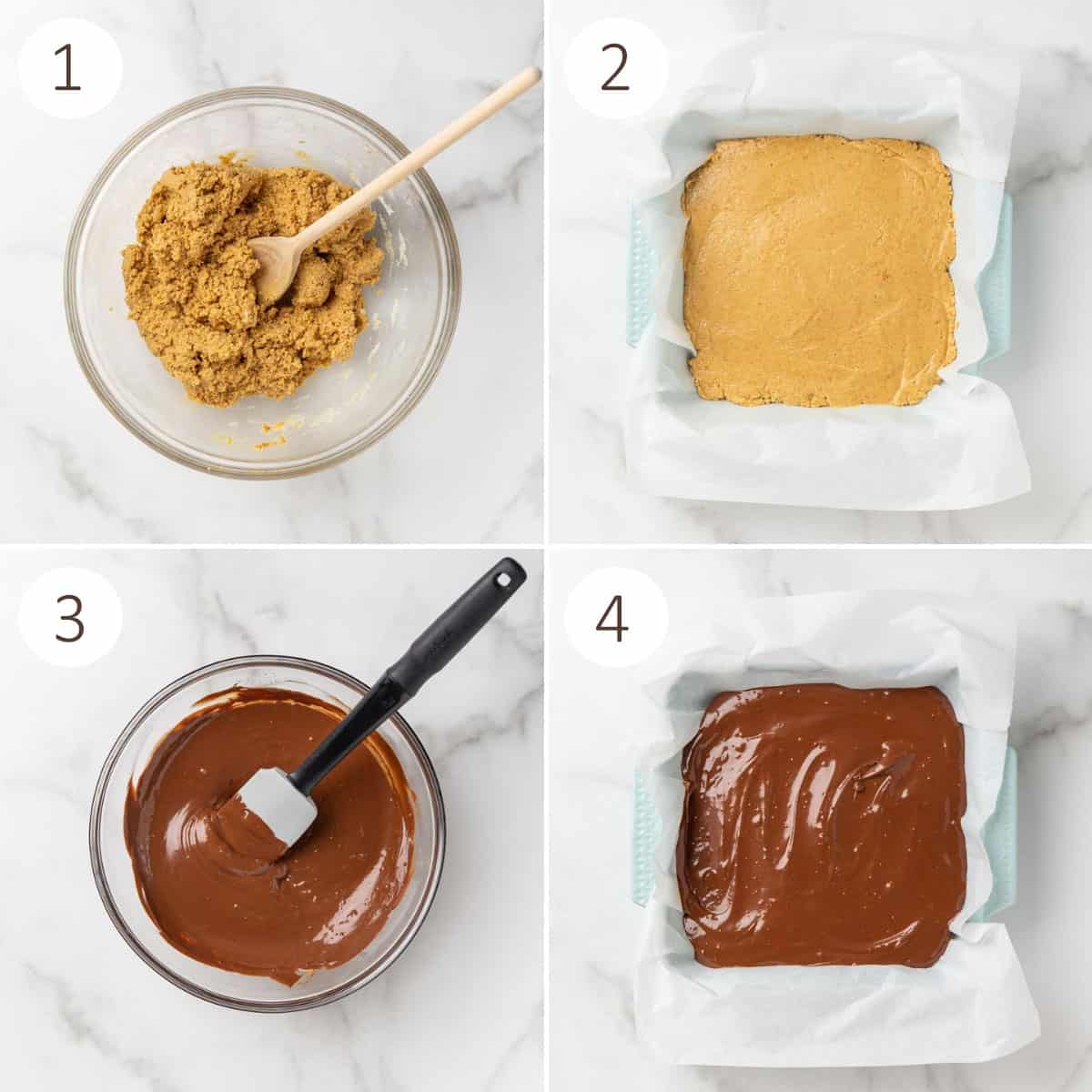 A collage of four images showing how to make peanut butter bars.