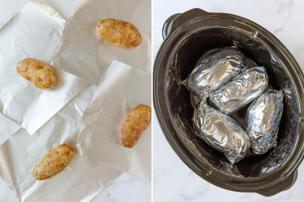 A two-image collage of preparing potatoes to go into a crock pot.