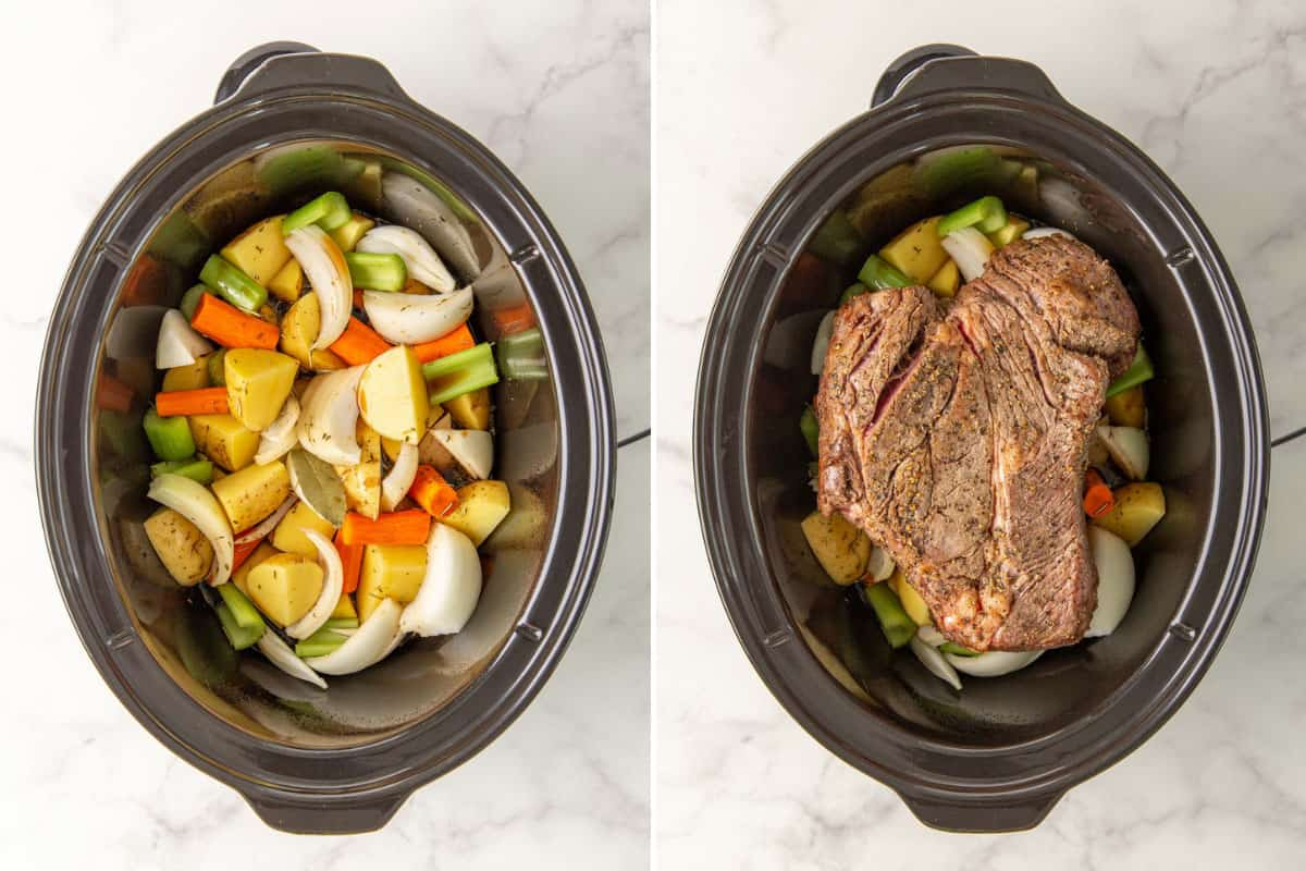 Two images showing steps of how make a pot roast in the crock pot.