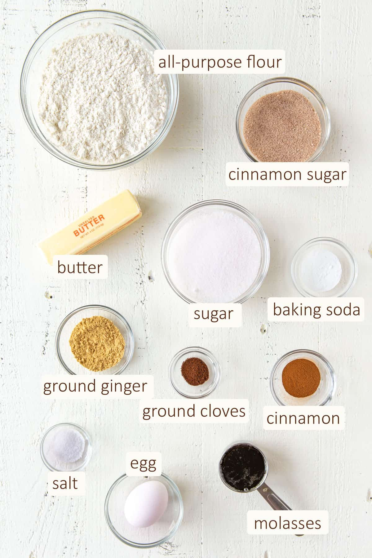 Overhead view of ingredients for soft gingersnap cookies.