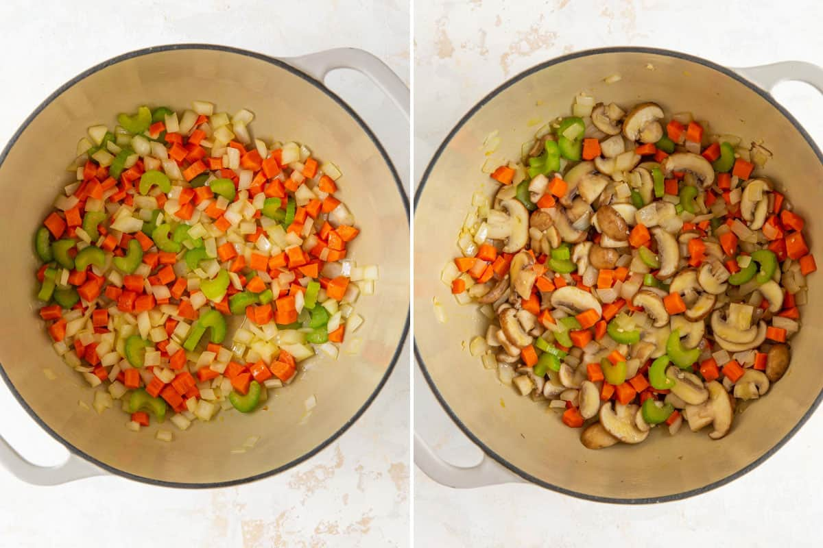 A two-image collage showing steps of cooking vegetables and mushrooms for soup.