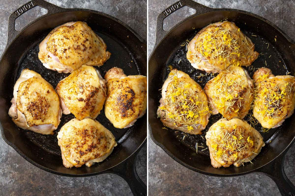 A two-image collage showing steps of searing and seasoning chicken for lemon rosemary chicken.