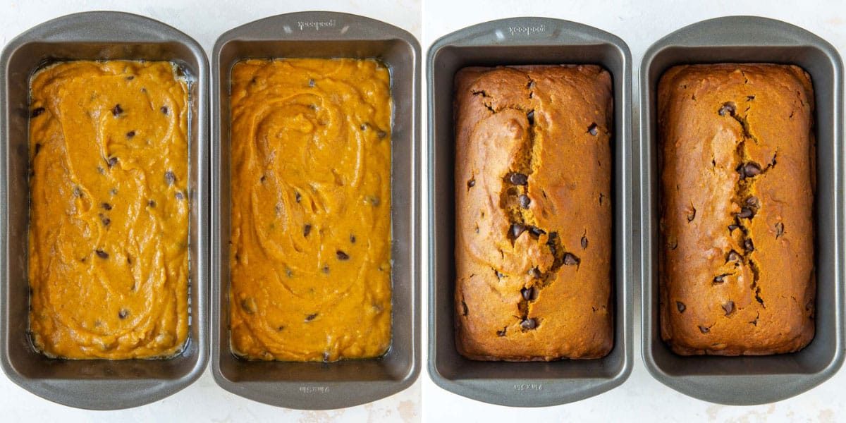 A two-image collage of loaf pans of pumpkin bread before and after baking.