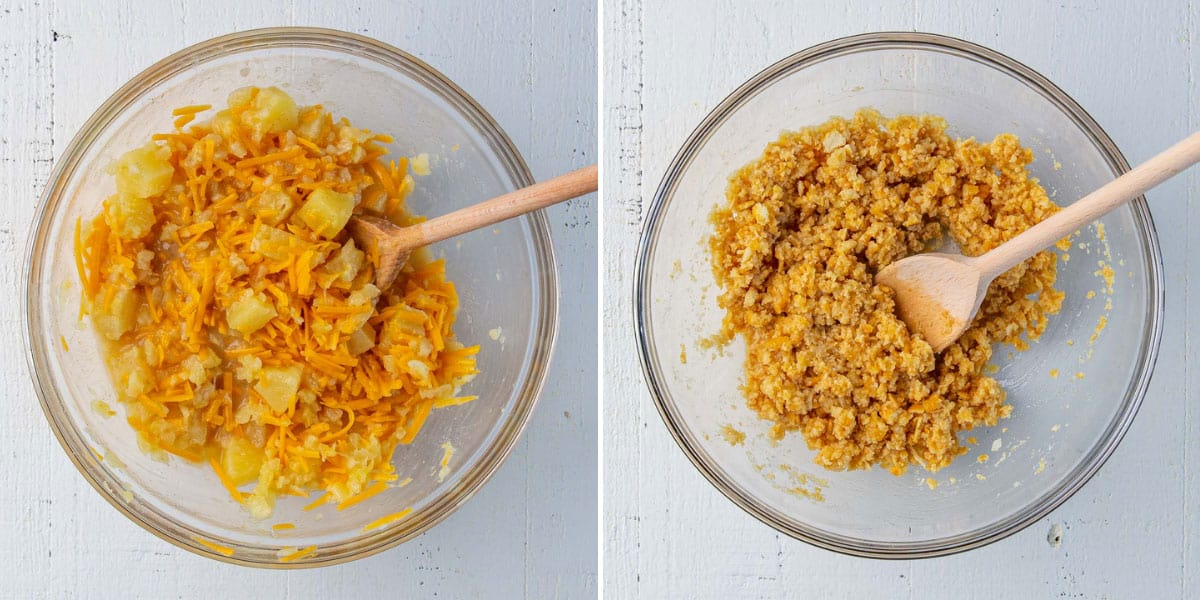 Two images showing steps of making pineapple casserole.