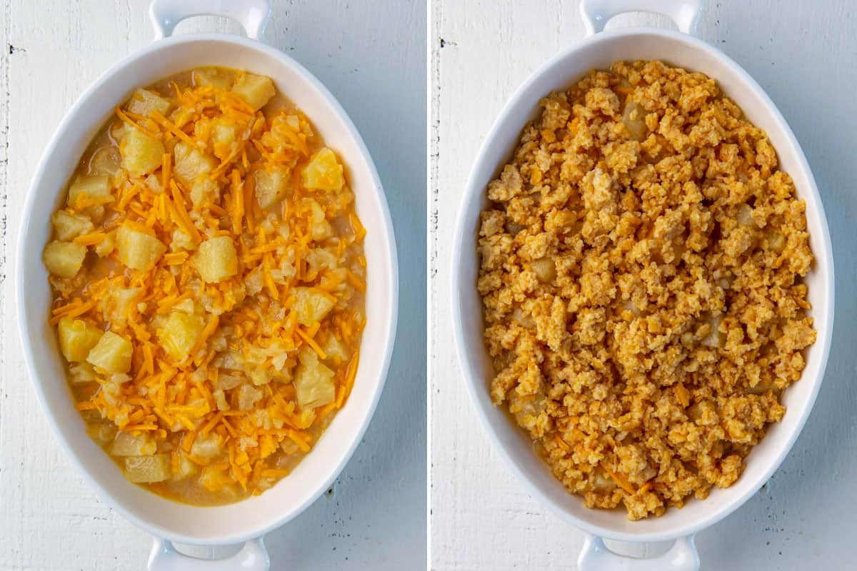 A two-image collage showing steps of making baked pineapple casserole.
