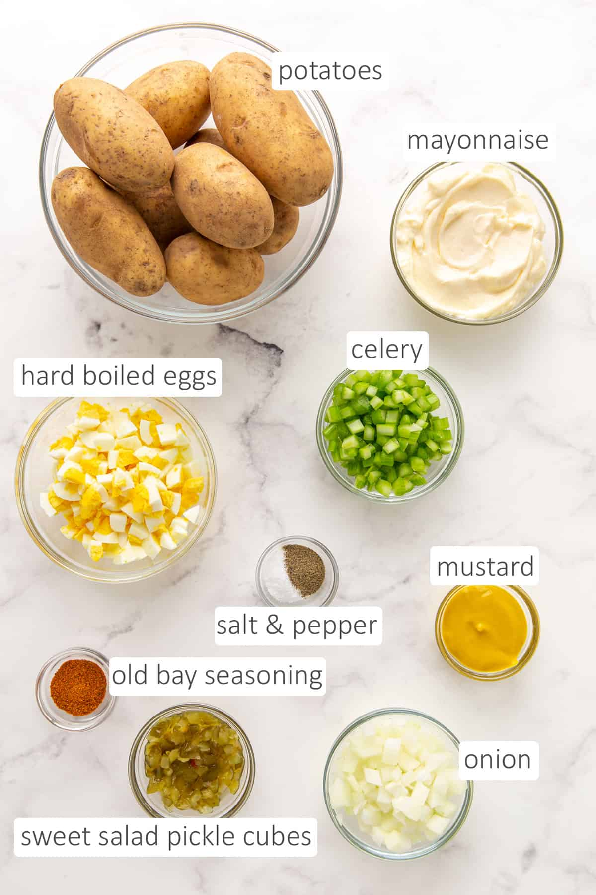 Overhead view of ingredients for making southern potato salad.