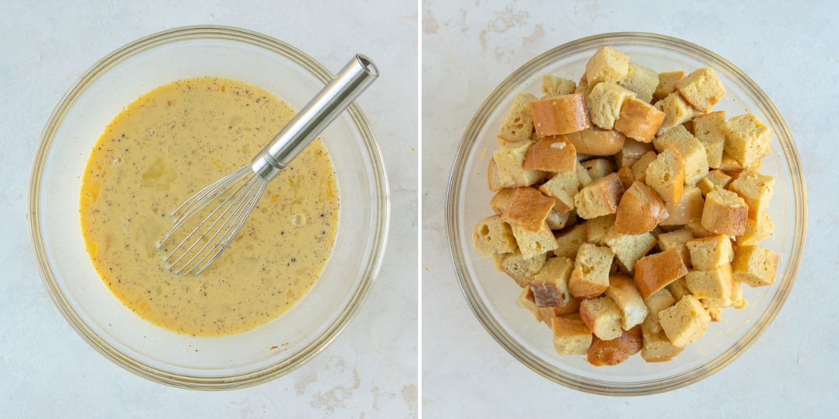 Two images showing steps of preparing egg mixture with cubed bread for a casserole.