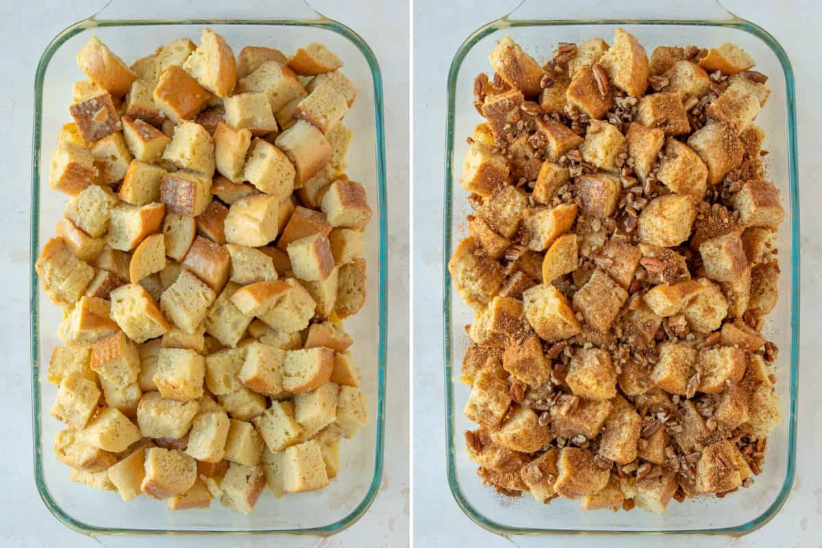 A two-image collage showing steps of preparing eggnog French toast casserole.