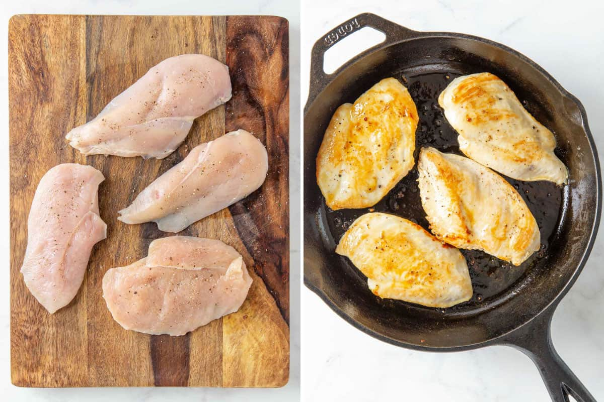 Two steps of preparing chicken breasts for skillet Italian chicken.