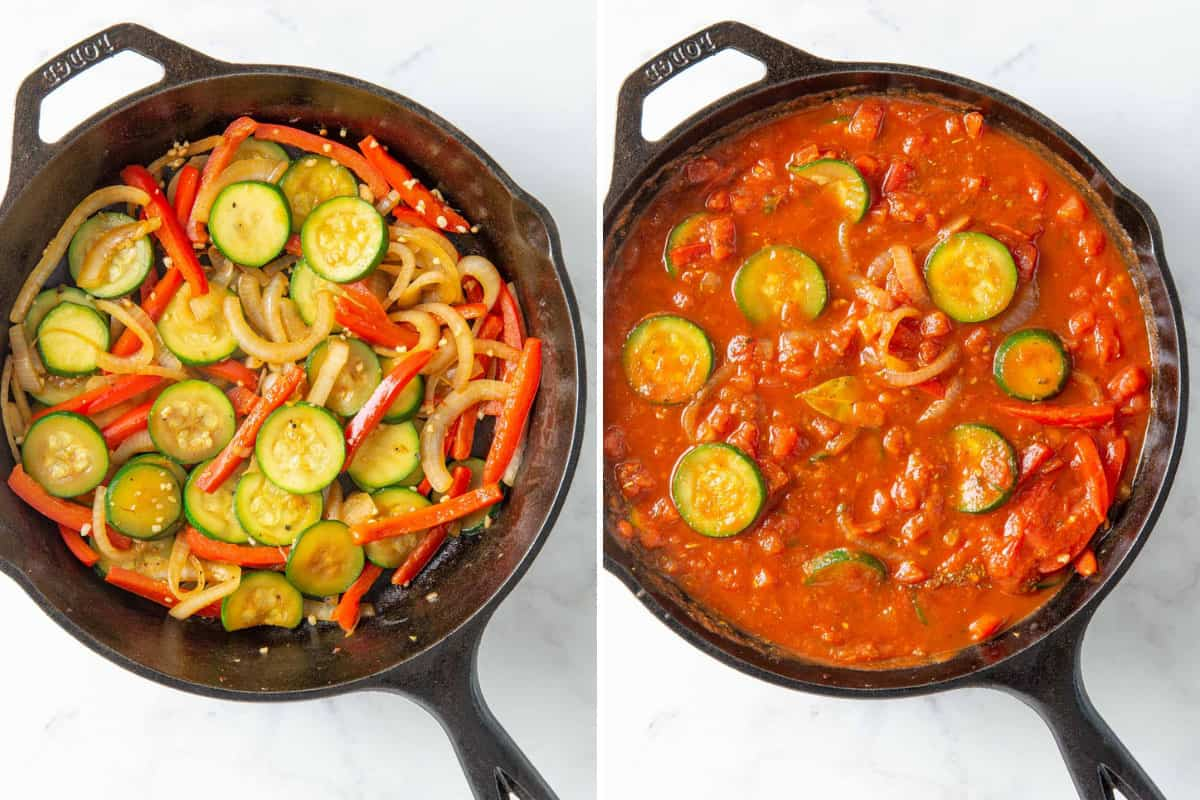 Two steps of preparing vegetables and sauce mixture in a skillet for Italian chicken.