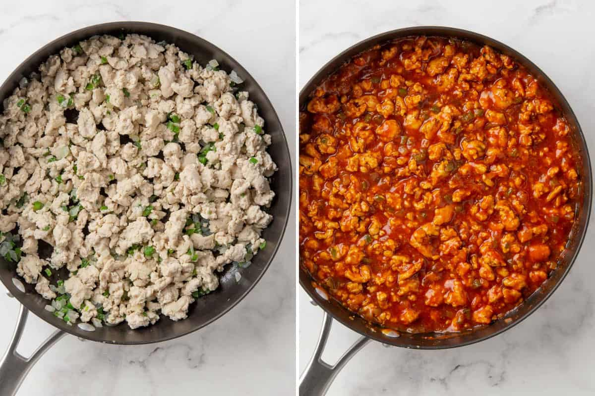 Two images showing steps of how to make sloppy joes with ground turkey.
