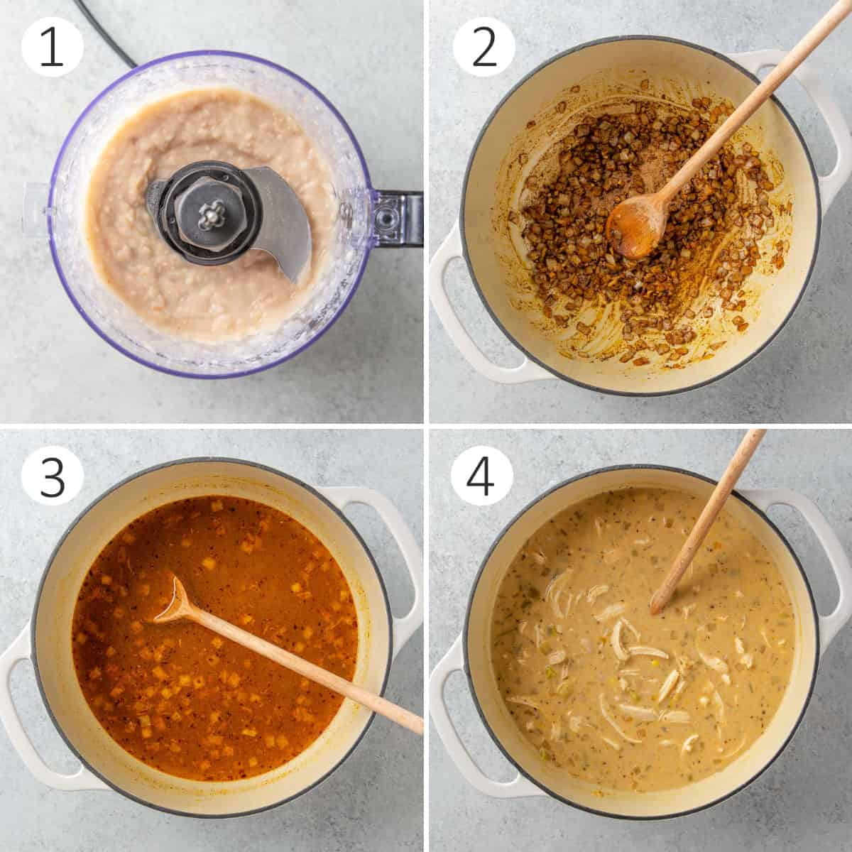 Four step by step photos showing how to make chili.