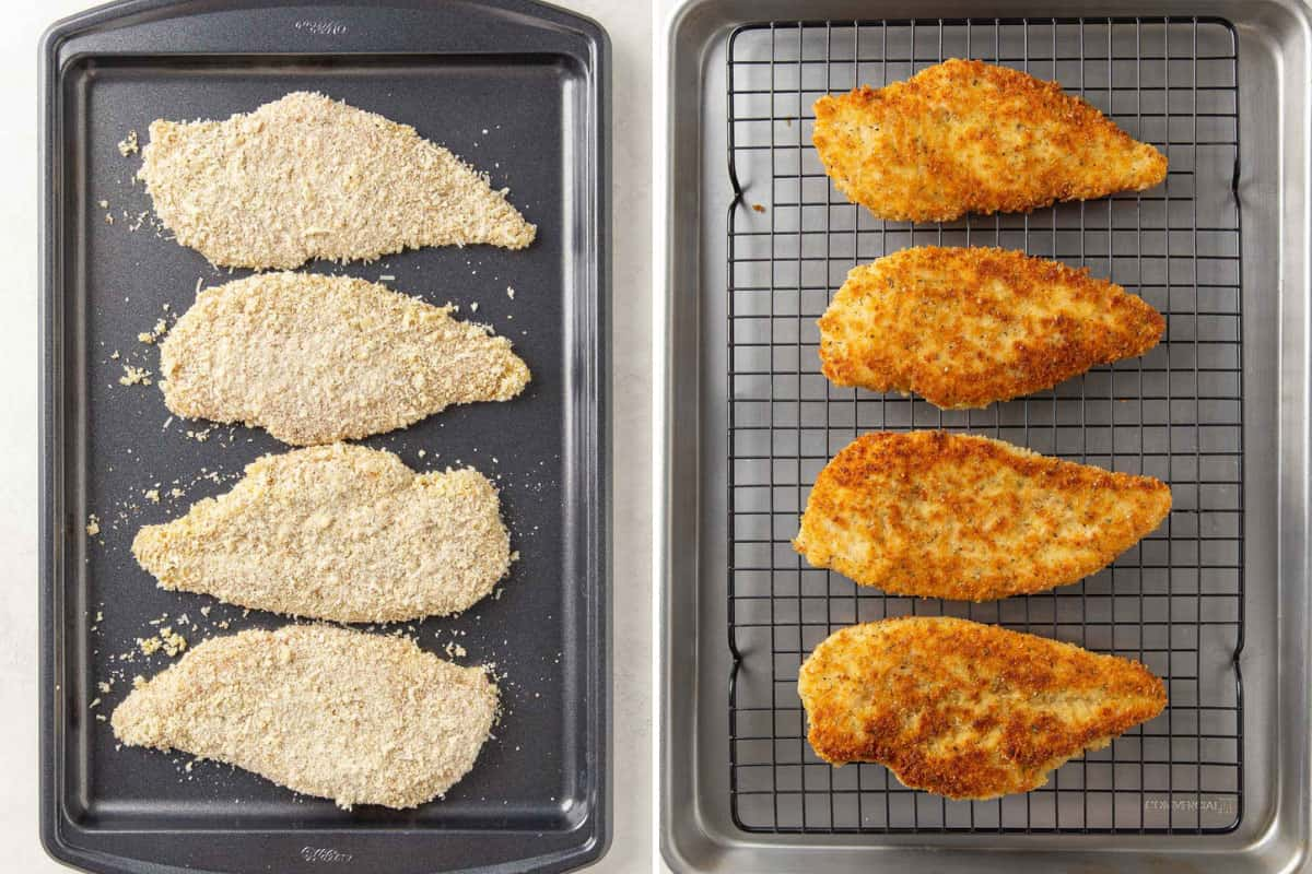 Two images of breaded chicken on baking sheets before and after being fried in oil.
