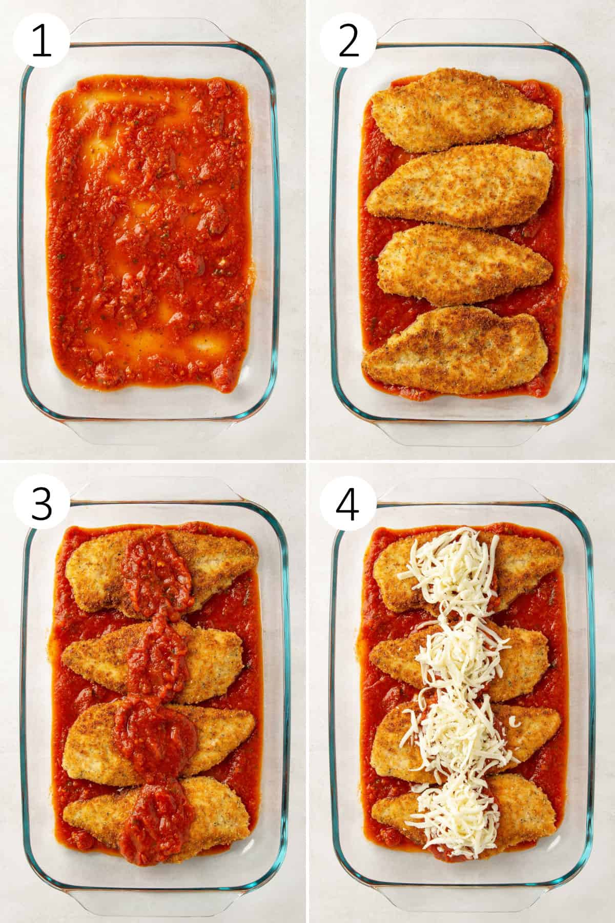 A four-image collage showing steps of preparing chicken parmesan for baking.