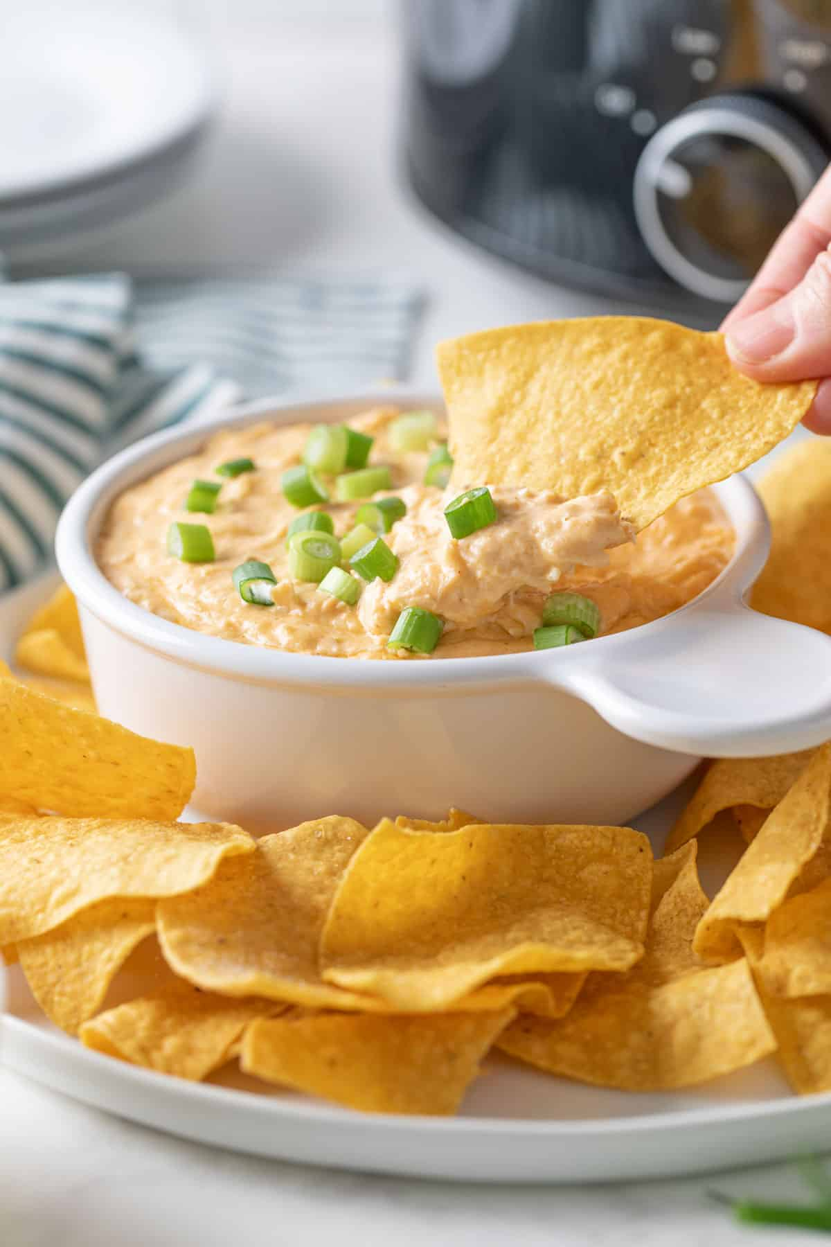 A tortilla chip being dipped into a bowl of crock pot chicken enchilada dip.