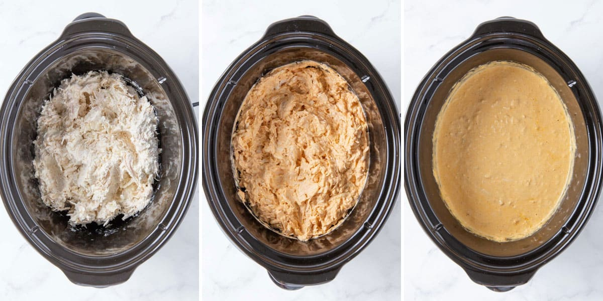 Three step-by-step photos showing how to make slow cooker chicken enchilada dip.