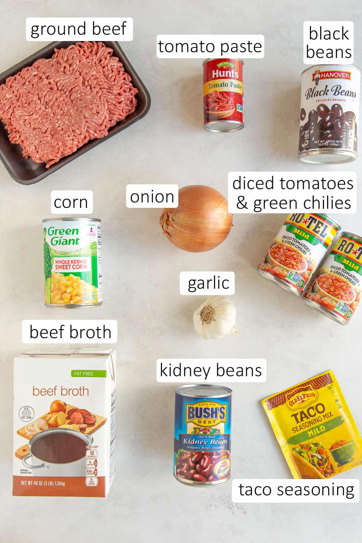 Overhead view of ingredients needed to make easy taco soup.