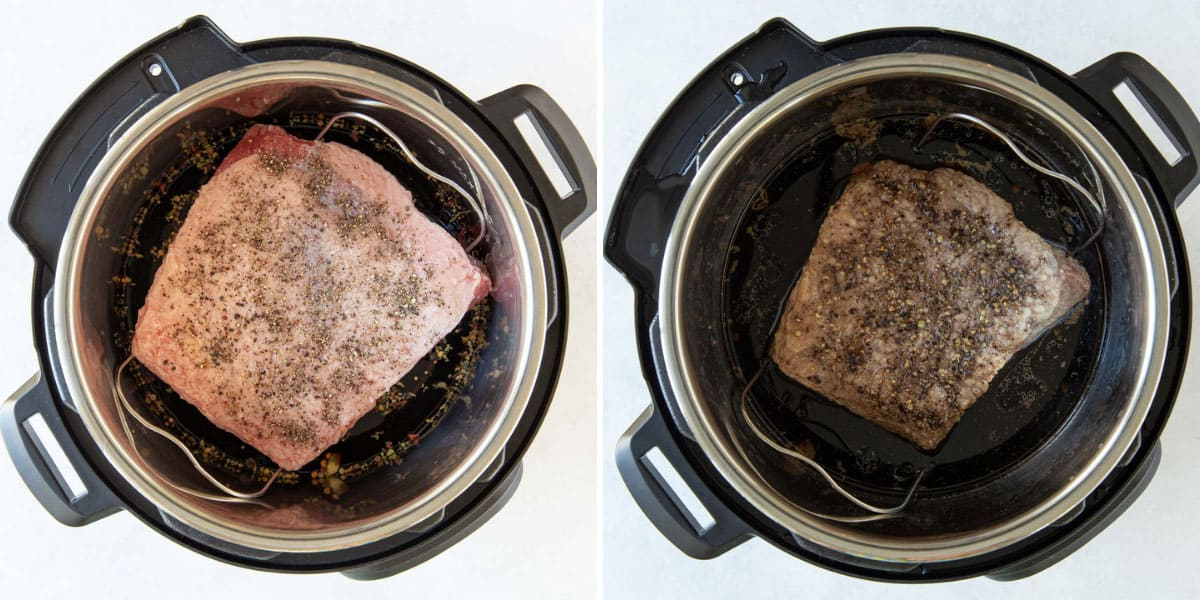 Two overhead views of an uncooked and cooked corned beef brisket in an instant pot.