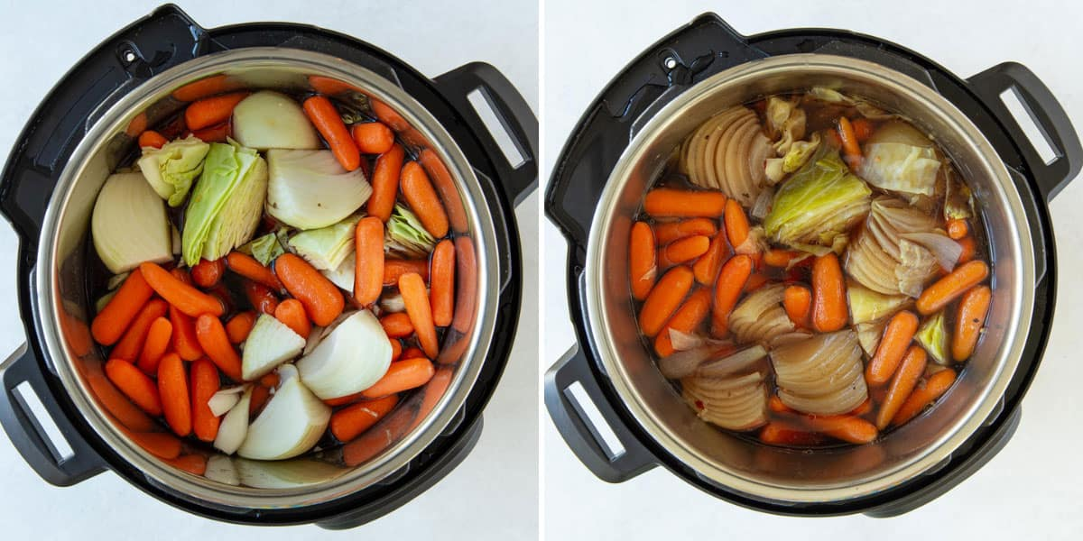Two overhead views of raw and cooked vegetables in an instant pot.