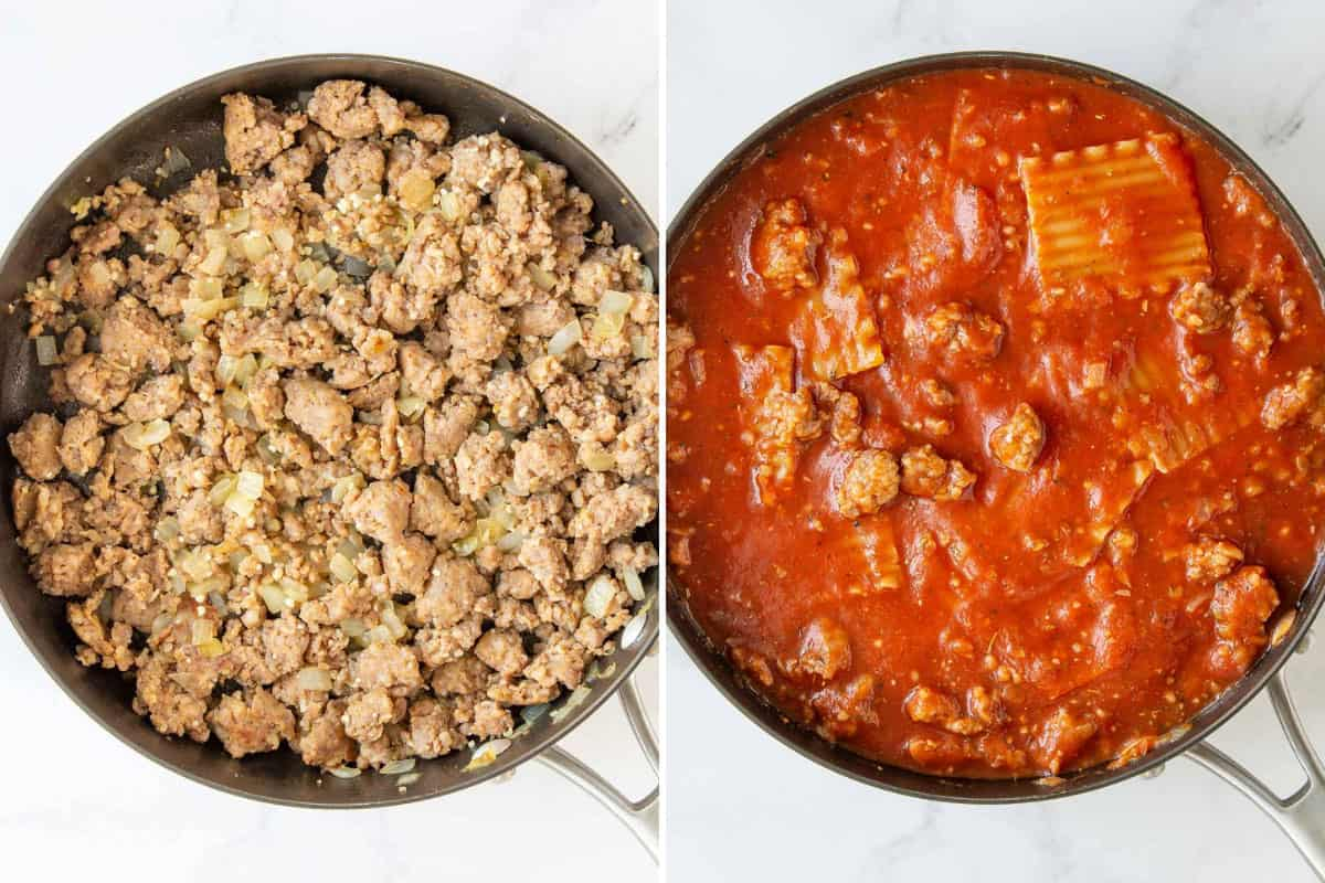 Two photos showing steps of making spinach lasagna in a skillet.